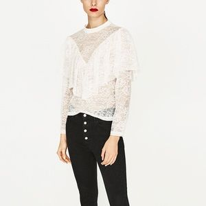 Zara off white frilled lace blouse